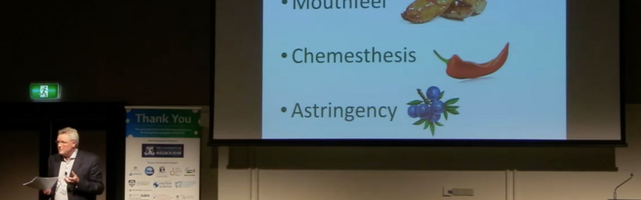 Ole G. Mouritsen talks about gastrophysics and taste (in fact, non-taste in this screenshot). Photo: Courtesy of University of Tasmania